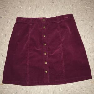 Dresses & Skirts - Red corduroy button up skirt